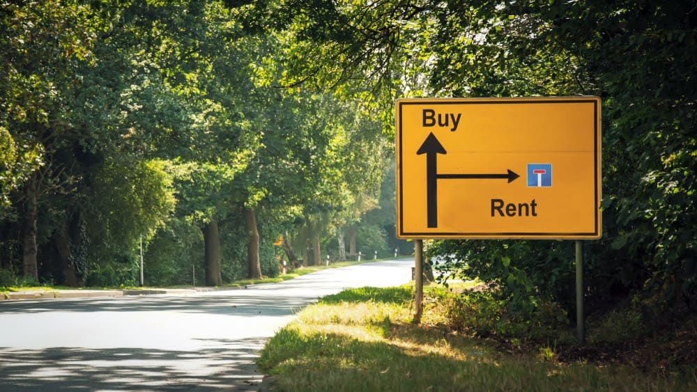 traffic sign directing to buy or rent